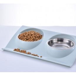 PETSTORY Podwójna Miska Metalowa z Podstawką dla Psa lub Kota 2 x 350ml (Niebieski)