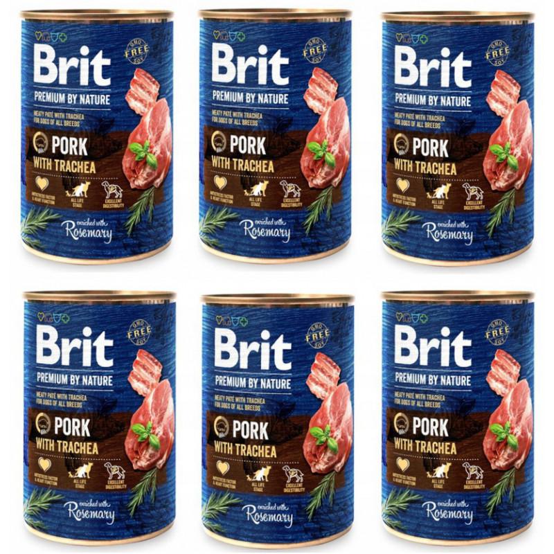 Brit Premium By Nature Wieprzowina PORK WITH TRACHEA 400g Zestaw 5+1