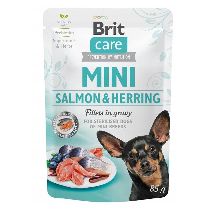 Brit Care Mini Salmon Herring ŁOSOŚ I ŚLEDŹ 85g