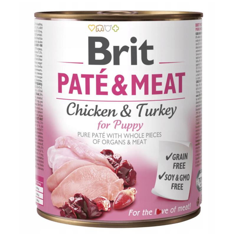 Brit Pate & Meat Dog Puppy KURCZAK I INDYK 800g