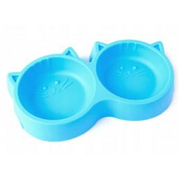 PETSTORY Podwójna Miska na Pokarm Wodę dla Kota (Niebieski)
