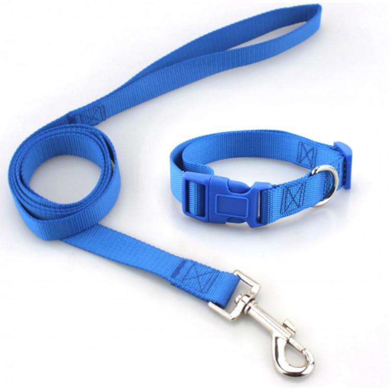 Komplet SMYCZ + OBROŻA Regulowana dla Psa 25mm XL (Niebieski)