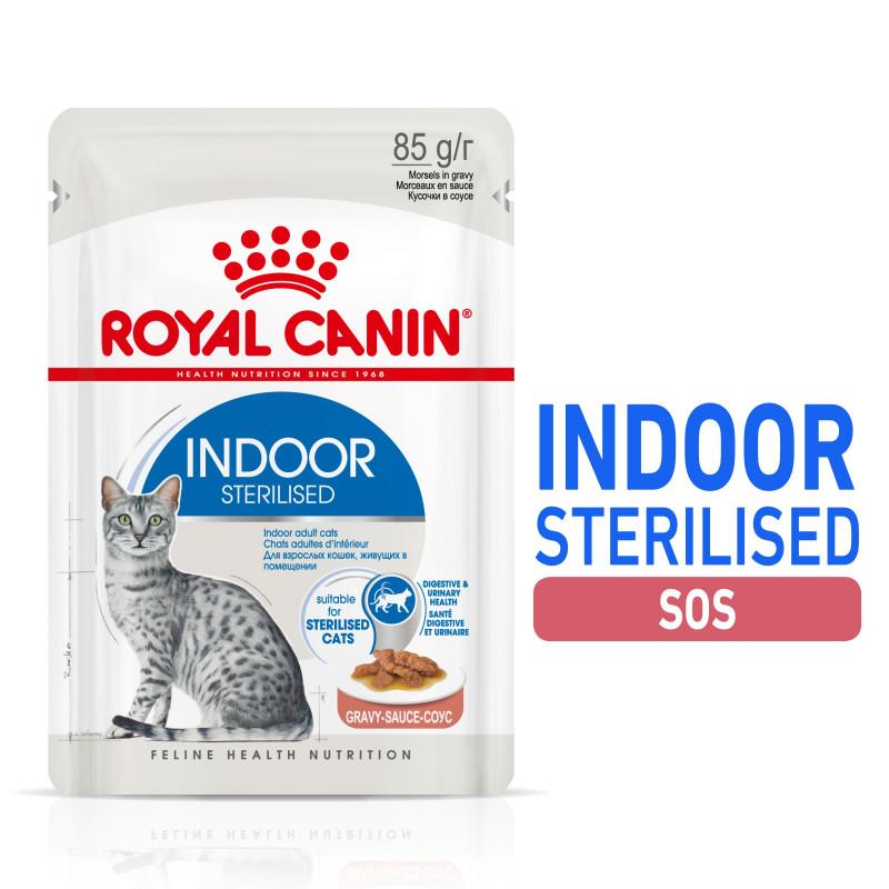 Royal Canin Indoor Sterilised - Karma Mokra w Sosie dla Kotów Dorosłych, Niewychodzących Sterylizowanych 85g
