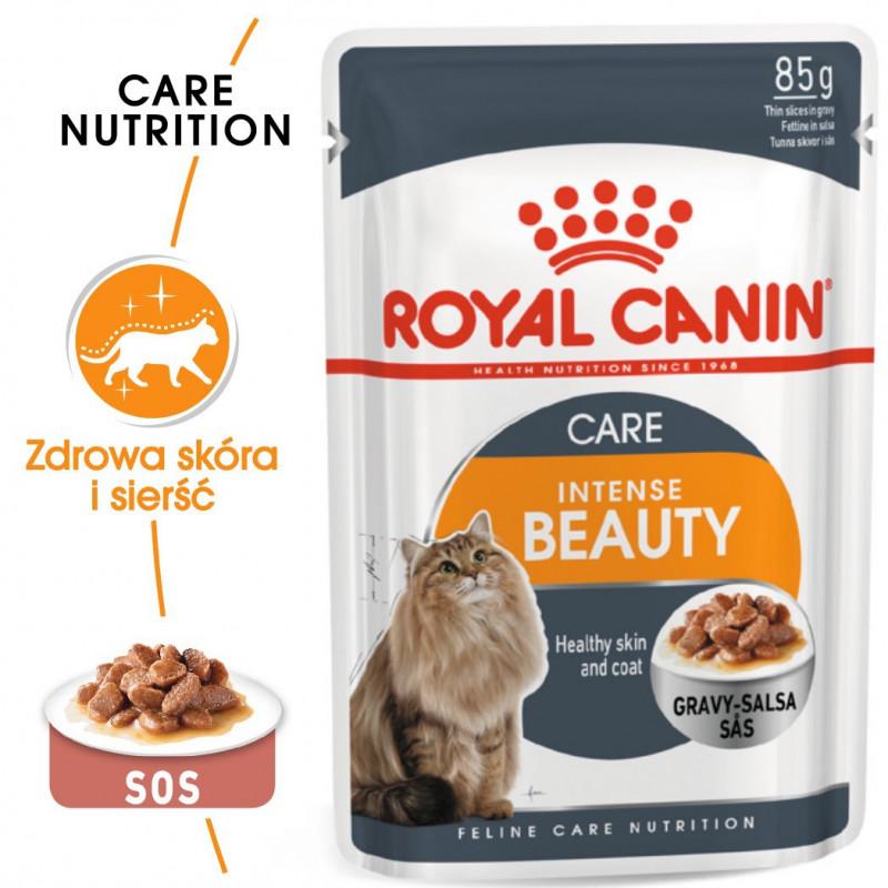 Royal Canin Intense Beauty Adult - Karma Mokra w Sosie dla Kotów Dorosłych SKÓRA I SIERŚĆ 85g