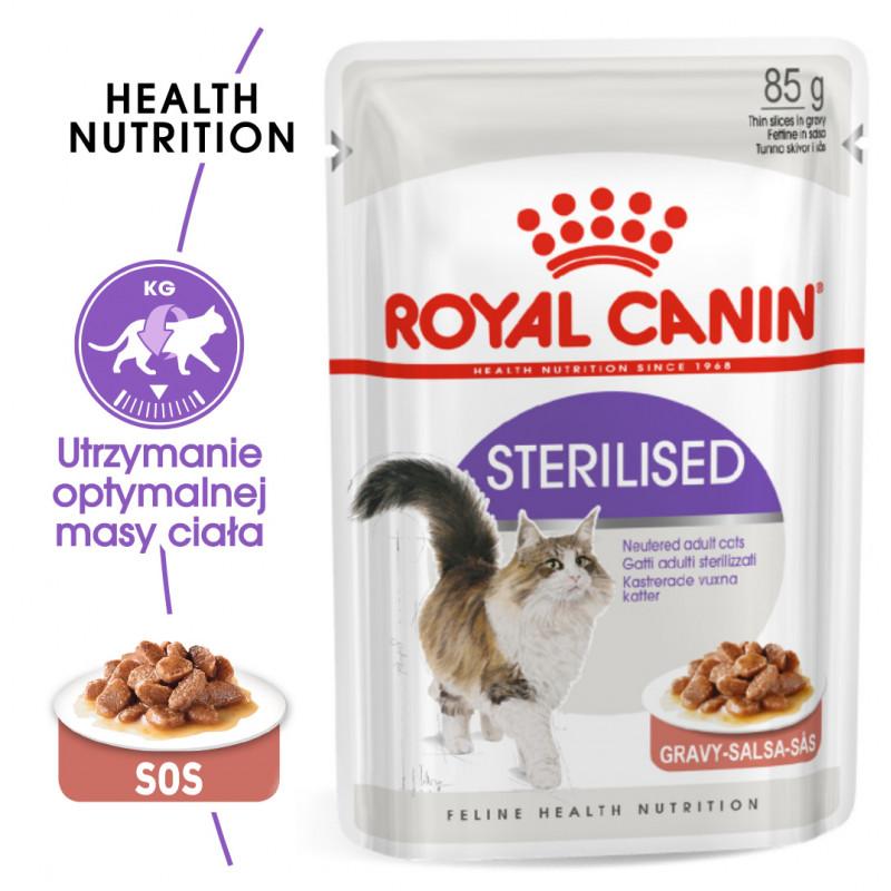 Royal Canin Sterilised Adult - Karma Mokra w Sosie dla Kotów Dorosłych, Sterylizowanych 85g