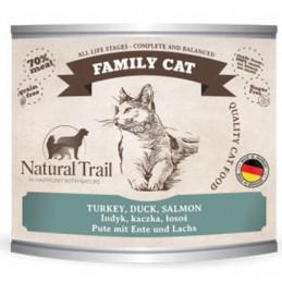 NATURAL TRAIL Family Cat INDYK KACZKA ŁOSOŚ Zestaw 6x 200g