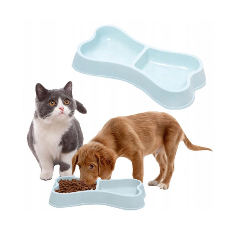 PETSTORY Podwójna Miska dla Psa lub Kota 2 x 150ml (Niebieski)