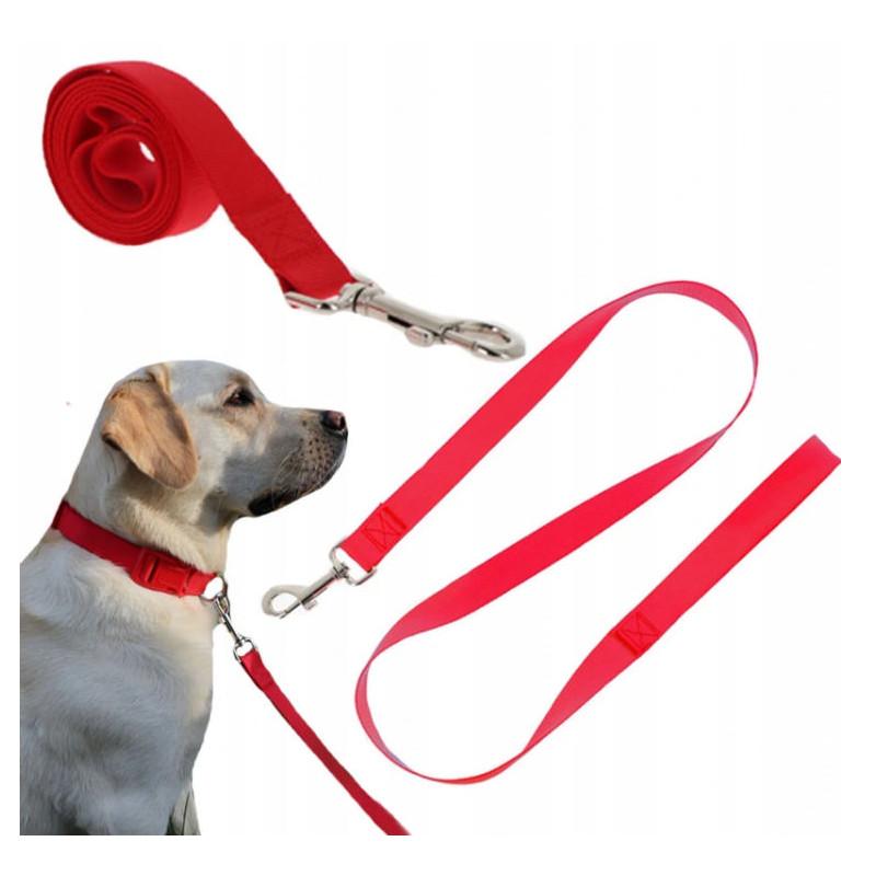 Solidna SMYCZ TAŚMOWA Materiałowa Pies 120X 2cm L PETSTORY (Czerwony)