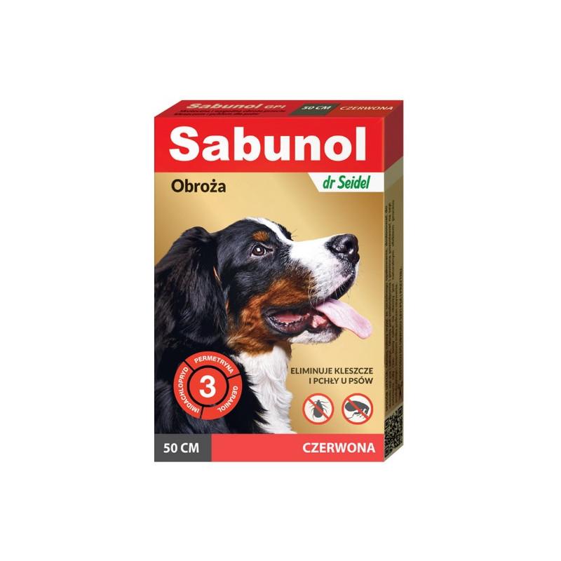 SABUNOL GPI - Obroża Przeciw Pchłom i Kleszczom dla Psa CZERWONA 50cm
