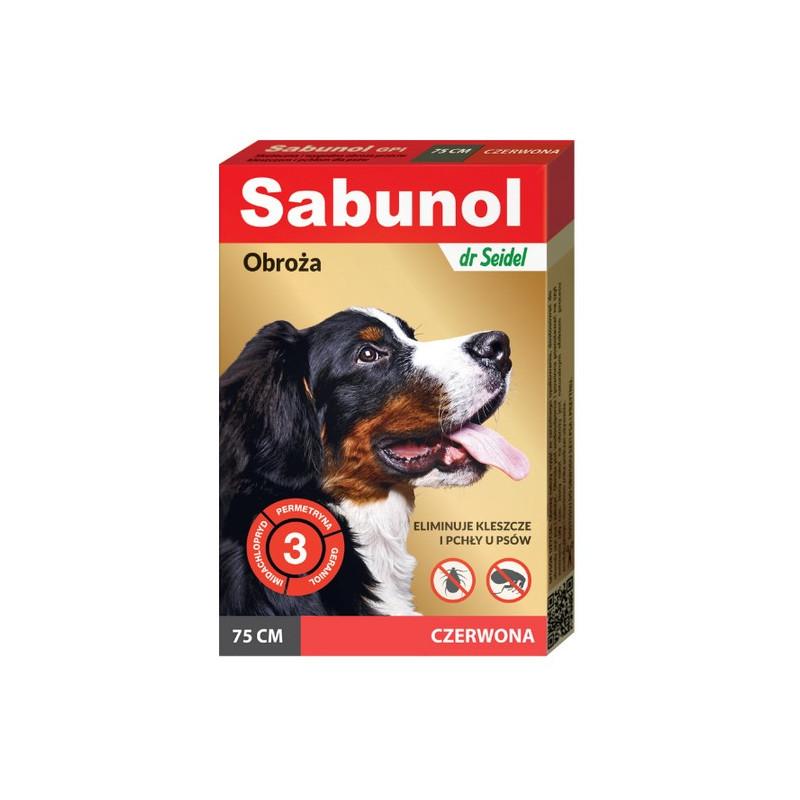 SABUNOL GPI - Obroża Przeciw Pchłom i Kleszczom dla Psa CZERWONA 75cm