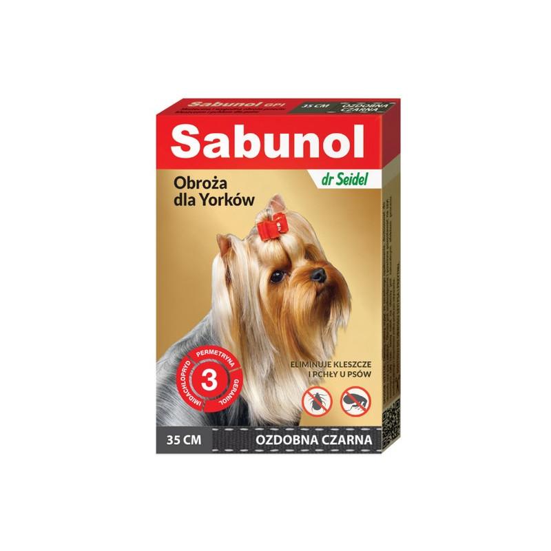 SABUNOL GPI - Obroża Przeciw Pchłom dla Yorka Ozdobna CZARNA 35cm